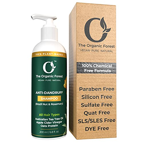 Organic Forest - 100% Chemical Free - Anti Dandruff Shampoo for Men, Women & Kids - Perfect for Dry and Frizzy Hair - Dandruff Treatment - Natural, Herbal, Ayurvedic - Organic, Vegan & Plant Based - 200 ML