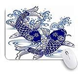 HASENCIV ゲーミング マウスパッド,波日本の鯉動物野生動物日本描画魚の絵淡水水アクティブ陽気です,マウスパッド レーザー&光学マウス対応 マウスパッド おしゃれ ゲームおよびオフィス用 滑り止め 防水 PC ラップトップ