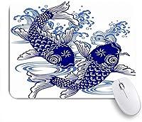 NIESIKKLAマウスパッド 波日本の鯉動物野生動物日本描画魚の絵淡水水アクティブ陽気です ゲーミング オフィス最適 おしゃれ 防水 耐久性が良い 滑り止めゴム底 ゲーミングなど適用 用ノートブックコンピュータマウスマット