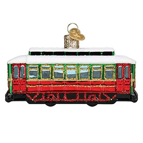 Old-World Christmas Glass Blown Ornament with S-Hook and Gift Box, Travel Collection (Trolley, 46094)