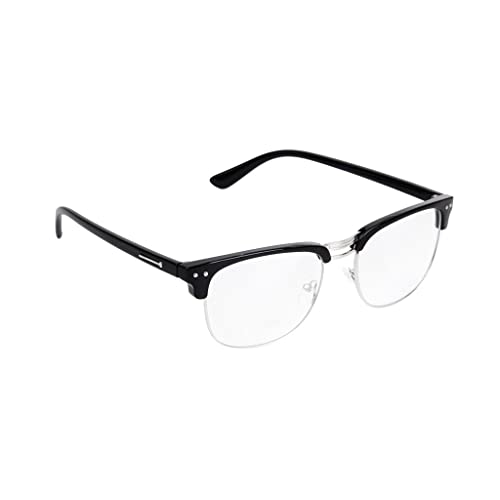 53791204512 Unisex Retro Plain Glasses Eyeglasses Black Half Frame