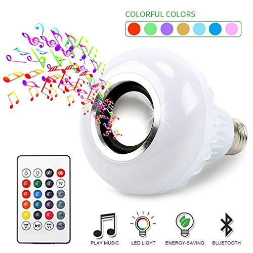 Bombilla LED inteligente, GLURIZ Bocina Altavoz Lámpara Bluetooth LED E27, Bombilla inalámbrica Bluetooth de luz colorida Control remoto RGB para fiesta, familia, Navidad, Halloween