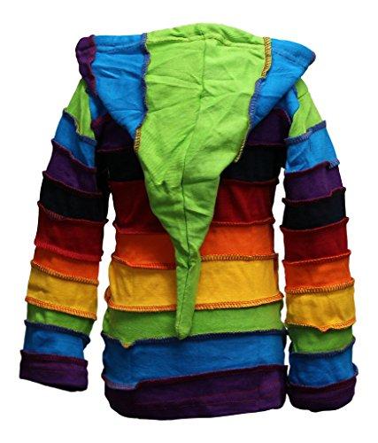 Shopoholic Moda Infantil Duende Coloridos Hippie De Rayas Con Capucha Hippy Boho Infantil Chaqueta De Punto - Arcoiris, Medium