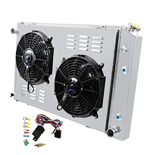 Primecooling 56MM 3 Row Core Aluminum Radiator +2X12' Fan +Shroud for Chevrolet GMC C/K Series Pickup & Trucks 1973-91