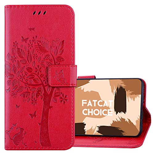 FatcatChoice Compatible with Huawei Mate 40 Pro Case,Kickstand Flip Elegant Pressed Pattern Design PU Leather Magnetic Cover with Card Slots Wallet Full Protection Case (Red)