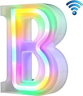 Coloridas luces de neón con letras 26 letras iluminadas para la fiesta de cumpleaños de la boda Lámpara de Navidad con batería Home Bar Decoración del dormitorio (B, sin control remoto)