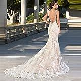 QING XIN-1225 Vestido de Novia Sirena de la Boda del Amor del cordón Nuevo sin Espalda Vestido de la Novia de Marfil Blancos Vestidos de Boda Vestido De Vestidos Novia (Color : Ivory, US Size : 2)