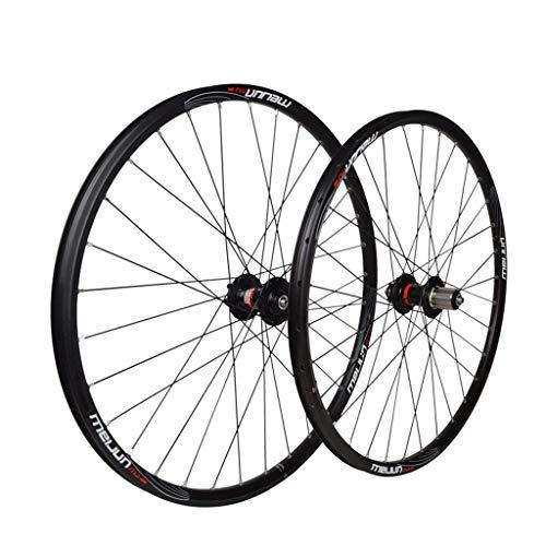 TYXTYX Bicicleta de 26'Juego de Ruedas Negras MTB Ruedas Delanteras traseras Llanta de aleación de Doble Pared Freno de Disco de liberación rápida 32 Orificios 8 9 10 velocidades