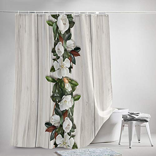 OneHoney Rustic White Magnolia Flowers Green Leaf Bathroom Shower Curtain Sets with Hooks 72x84Inch, Polyester Fabric Bath Curtains Accessories for Tub, Machine Washable, Wooden Planks