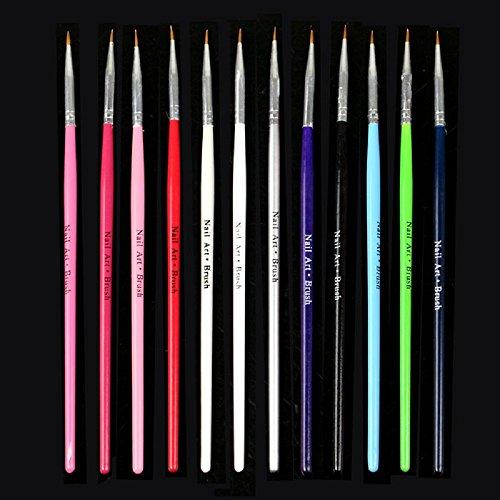 Tonsee 12pcs Nail Art Design Pinceau Fine Details Conseils Dessin Peinture Set