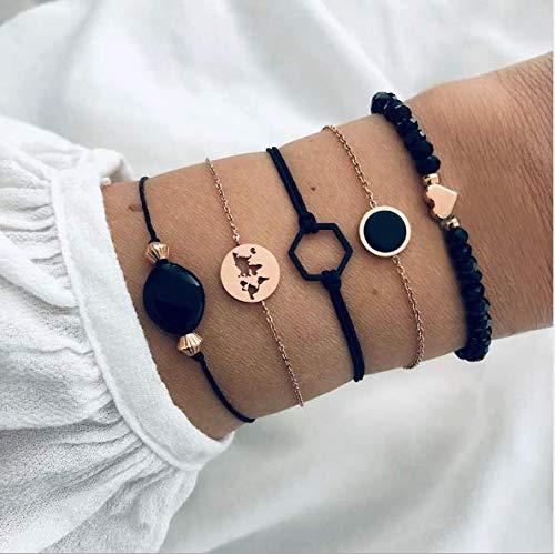 Cathercing 5-teiliges Armband-Set für Frauen und Mädchen, Schmuck, Armband mit Perlen, Boho-Armband, Fußkettchen-Set, verstellbar, handgefertigt, Schmuck für den Alltag, Geschenk für Teenager-Mädchen