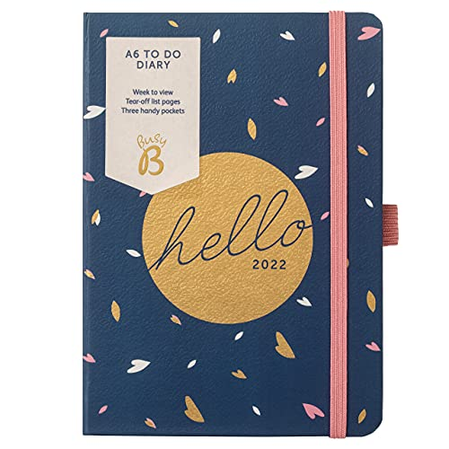 Busy B to Do Diary January to December 2022 – A6 Navy Week to View Diary with Notes, Tear-Out Lists & Pockets