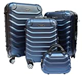 R.Leone Valigia Set 4 Trolley Rigido grande, medio, bagaglio a mano e beauty case 4 ruote in ABS 2026 (Blu, Set 4 XS X M L)