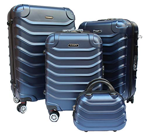 R.Leone Valigia Set 4 Trolley Rigido grande, medio, bagaglio a mano e beauty case 4 ruote in ABS 2026 (Blu, Set 4 XS X M L)