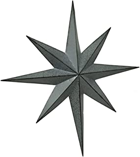 Zeckos Rustic Galvanized Finish Metal 8 Pointed Star Wall Hanging 25 inch