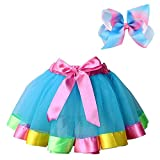 BGFKS Layered Ballet Tulle Rainbow Tutu Skirt for Little Girls Dress Up with Colorful Hair Bows (Blue,2-4T)