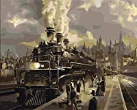 ナンバーキットによるDIY油絵ナンバーキットによる蒸気機関車ペイントカラフルなキャンバス絵画壁アート画像描画40x50cmフレームレス