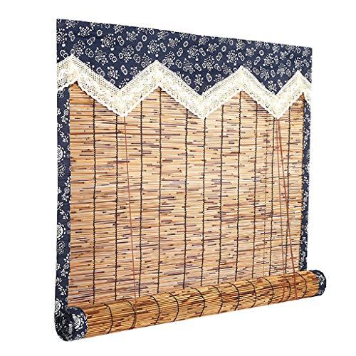 Persianas Enrollables de Persiana Sun Shade, Persianas Enrollables de Filtrado de Luz con Cenefa Persianas Enrollables de Bambú Antimoho para Jardín Patio Marrón