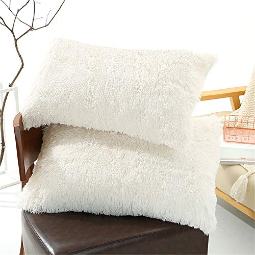 "Tenghe Solid Plush Standard/Queen Pillowcase 2 Pack Super Soft Fluffy Faux Fur Shaggy Pillow Cases/Covers Decorative Throw Pillow Shams with Zipper Closure.No Inside Filler (Cream White,20""×30"")"