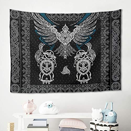 Gamoii Tapiz de pared con pájaro vikingo para colgar en la pared, ideal para picnic, playa, esterilla de yoga, decoración para el hogar, color blanco, 100 x 150 cm