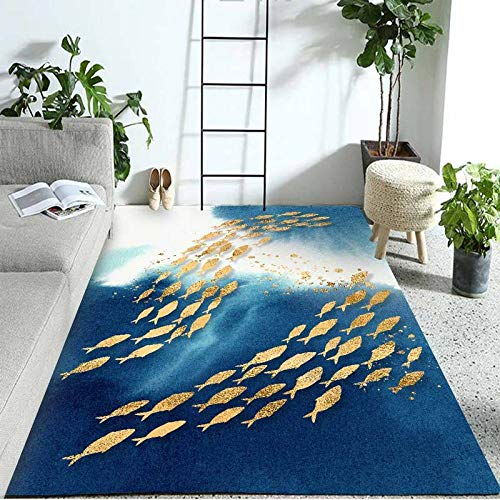 HXJHWB traditional Living Room Rug Area carpet - Leisure and comfortable study exquisite fish carpet modern durable household carpet-140CMx200CM