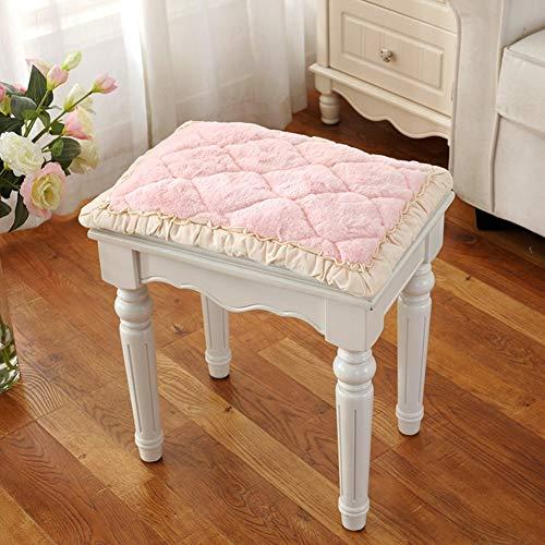 Kruk met cosmetica-overtrek, ronde zitting met gewatteerde zitting, bekleding met kruk op de vloer, stof in Europese stijl, eenvoudig, kussen voor stoel van kant, cosmeticastoel, kruk E 35 x 45 cm (14 x 18 inch)