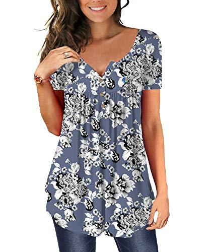 SWAGSTS T-Shirt Damen Sommer V Ausschnitt Kurzarm Blumen Tunika Lose Plissee Knopfleiste Bluse Tops (XX-Large, Blaue Blumen)