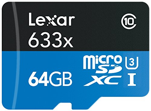 Lexar High-Performance MicroSDXC 633x 64GB UHS-I U1 w/USB 3.0 Reader Flash Memory Card (old U3...