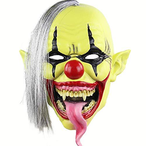 LINMASK Máscara De Látex Máscaras De Terror, Verde Cara De Payaso para Halloween Maquillaje Partido Ajusta A La Mayoría Adultos Y Adolescentes Y Un Tamaño