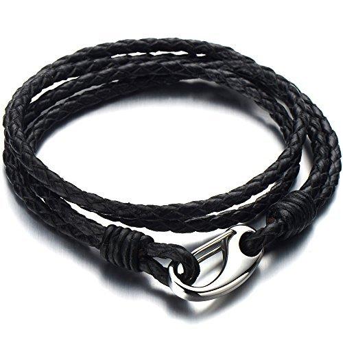 COOLSTEELANDBEYOND Doppel-Lap Schwarz Lederarmband Herren Damen Armband Geflochtenem Leder Schweißband mit Edelstahl Hakenverschluss