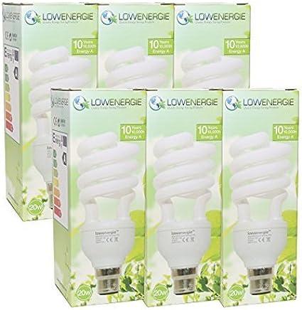 Lowenergie Ampoules CFL /à /économie d/énergie 11 W 3 dur/ée de vie de 10 000 heures = 60 W Classe /énerg/étique A Blanc jour 6500 K Culot /à vis E27 Culot /à vis Stick