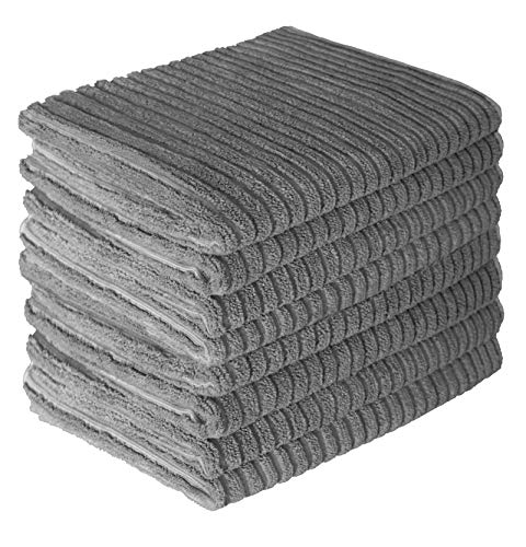 Gryeer 8er-Set Mikrofaser Geschirrtücher, saugstark und Dicke Küchentücher, einseitig gerippt einseitig glatt Trockentücher,45x65cm, Grau