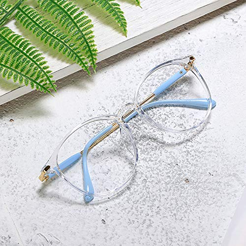 WYZQQ Computer-blauw licht-veiligheidsbril WomenTR90 ultralight rond frame bescherming tegen verblinding UV-filter lens bescherming tegen vermoeidheid voor de ogen, betere slaap, beste cadeaukeuze