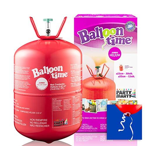 PartyMarty Set Helium Balloon Time ECO 50 Ballongas Ballon Schnellverschlüsse für Hochzeit, Partys, Dekorationen und Geburtstage GmbH