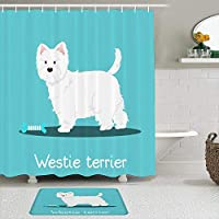 WOTAKA シャワーカーテン バスマット 2点セット ボディウェスティテリア犬の骨の空の動物野生動物愛らしい魅力的な食用色素かわいい犬の血統 自家 寮用 ホテル 間仕切り 浴室 バスルーム 風呂カーテン 足ふきマット 遮光 防水 おしゃれ 12個リング付き