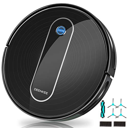 Robot Vacuum, DEENKEE 1500Pa Super Suction, 90 Min Running Time, 4+2 Cleaning Modes, Quiet,...