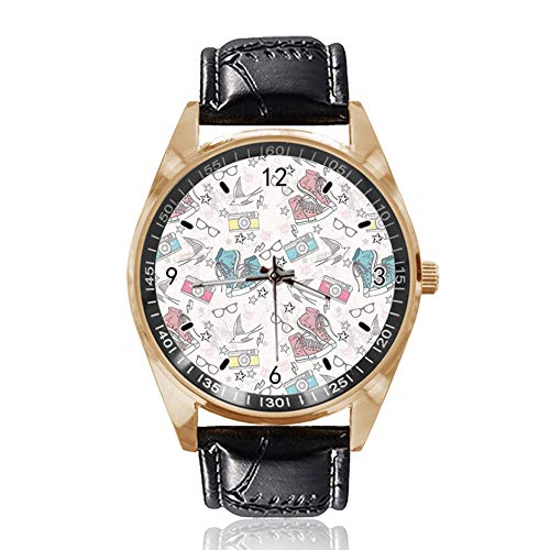 Armbanduhr mit Schuh-Brille, Kamera, individuelles Design, analog, Quarz, goldfarbenes Zifferblatt, klassisches Lederband für Damen und Herren