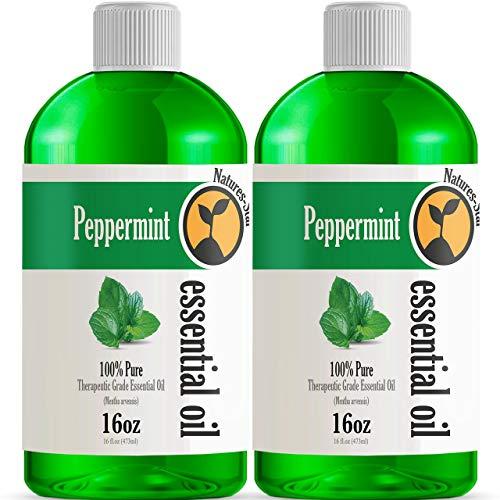 2 Pack 16oz - Bulk Size Peppermint Essential Oil (32 Ounce Total) - Therapeutic Grade Essential Oil - 16 Fl Oz Bottles