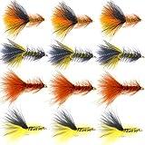 The Fly Fishing Place Bead Head Woolly Bugger Classic Streamer Fliegen – Set von 12 Fliegen für Barsch und Forellen, Haken Größe 4