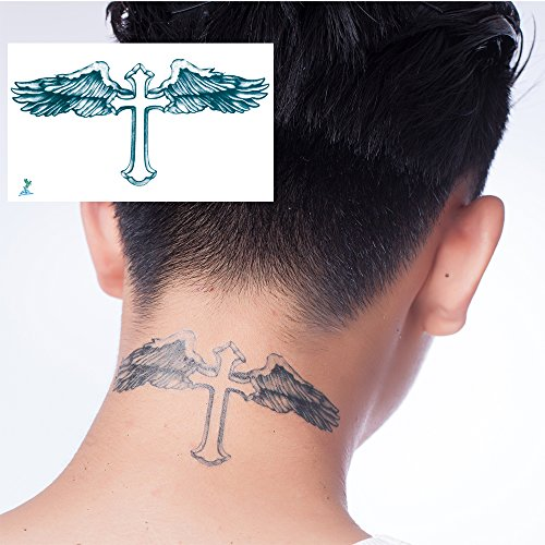 Yeeech Temporary Tattoos for Men Waterproof Long Lasting Neck Beckham Design Cross Blessed Wings America Tribal Religious (4 Sheets)