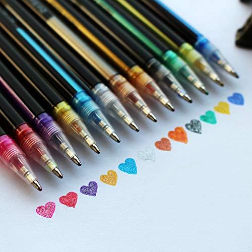 Huieng Pennarello creativo a 12 colori, a doppia linea, colore chiaro, fluorescente, metallizzato, per pittura su roccia, penne con glitter, a base d'acqua, punta fine, set di 12