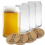 Beer Can Glasses Set of 4- Can Shaped Beer Glass Cups - Holds 16 Oz- Cork Coasters Included in Set- Soda Pop Can Shaped Beer Glasses are Nucleated for Better Tasting Beer