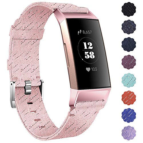 KIMILAR Armbänder Kompatibel mit Fitbit Charge 4 / Charge 3 Armband Stoff, Schnellspanner Nylon Ersatzband Armbänder für Charge 4/3/SE Fitness Tracker -Rosa