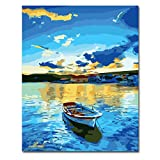 DIY Paint by Numbers for Adults Beginner, Adult Paint by Number Kits on Canvas 16' x 20'(No Frame) Drawing Paintwork with Paintbrushes and Acrylic Pigment, Arts Craft for Home Wall Decor-Blue Lake