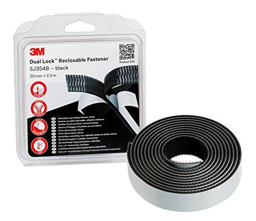 3M Dual Lock SJ354B, wiederlösbares Befestigungssystem - starke, wiederlösbare Verbindung von Kunststoffen (Polypropylen, Polyethylen), kritischen Lacken - 25mm x 2.5m, Dicke: 5.7mm (1-er Pack)