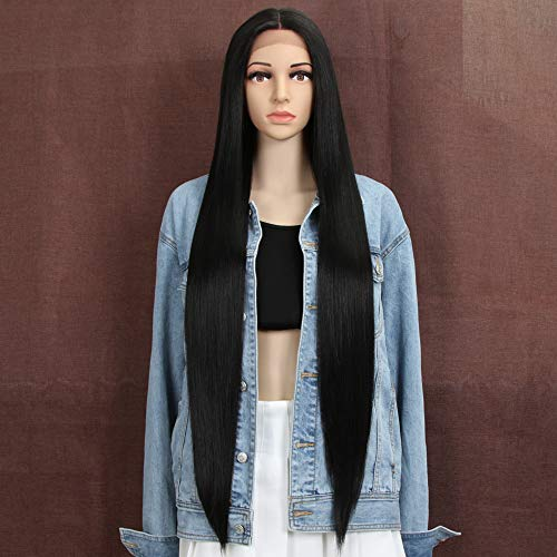 "Style Icon 38"" Super Long Straight Wigs Lace Front Wigs 6"" Deeper Middle Part Wig Black Synthetic Wig (38"", 1B)"