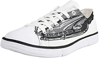 K0k2t0 Canvas Sneaker Low Top Shoes,Cars,Grunge Aged Original Sports Car with Round Vignette Buffalo Skull Speed Indicator Theme