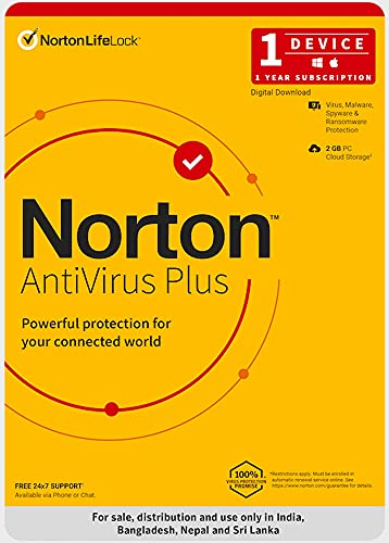 Norton Antivirus Plus | 1 User 1 Year |Includes Smart Firewall & Password Manager | PC or Mac | Code emailed in 2 hrs.