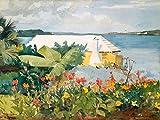 Feeling at home LIENZO-con-AMERICANO-CAJA-Flor-Jardín-y-Bungalow,-Bermuda-Homer-Winslow-Paisaje-Fine-Art-impresión-sobre madera-marco-Horizontal-20x27_in