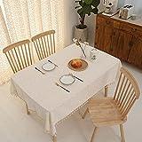 JIALIANG Mantel rectangular de algodón y lino a cuadros mantel de mesa de centro de mesa de mesa de jardín, mantel reutilizable lavable, amarillo, 140 x 180 cm